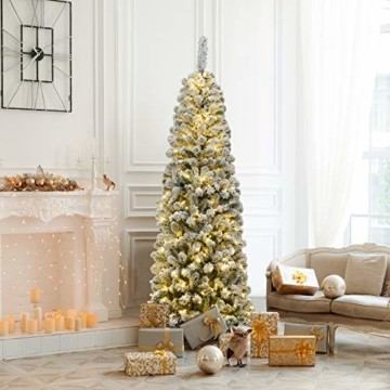 COSTWAY 180cm Bleistift Weihnachtsbaum mit Schnee und 250 warmweißen LED-Leuchten, künstlicher Tannenbaum mit Metallständer, Christbaum 500 Spitzen PVC Nadeln, Kunstbaum Weihnachten Klappsystem Grün - 6