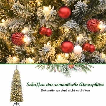 COSTWAY 180cm Bleistift Weihnachtsbaum mit Schnee und 250 warmweißen LED-Leuchten, künstlicher Tannenbaum mit Metallständer, Christbaum 500 Spitzen PVC Nadeln, Kunstbaum Weihnachten Klappsystem Grün - 8