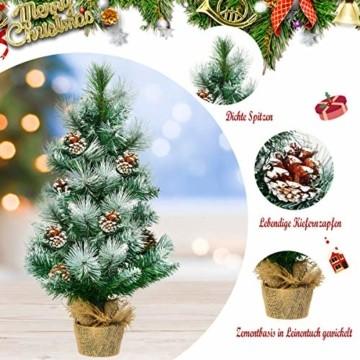 COSTWAY 60cm Künstlicher Mini Weihnachtsbaum, Tisch Tannenbaum mit Zementbasis, schneebedeckter Christbaum mit Kiefernzapfen, Kunstbaum Weihnachten 34 Spitzen PVC Nadeln, grün - 2