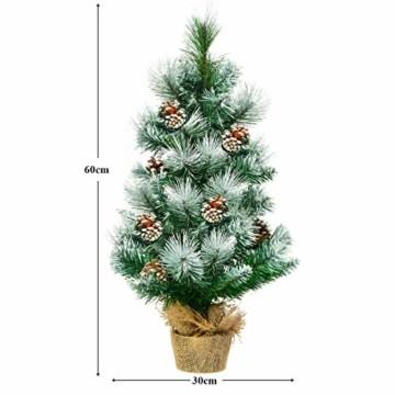 COSTWAY 60cm Künstlicher Mini Weihnachtsbaum, Tisch Tannenbaum mit Zementbasis, schneebedeckter Christbaum mit Kiefernzapfen, Kunstbaum Weihnachten 34 Spitzen PVC Nadeln, grün - 3