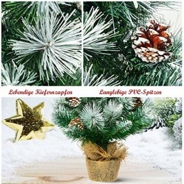 COSTWAY 60cm Künstlicher Mini Weihnachtsbaum, Tisch Tannenbaum mit Zementbasis, schneebedeckter Christbaum mit Kiefernzapfen, Kunstbaum Weihnachten 34 Spitzen PVC Nadeln, grün - 4