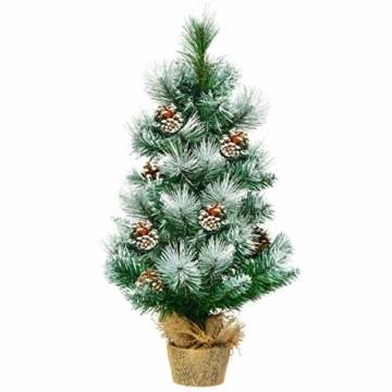 COSTWAY 60cm Künstlicher Mini Weihnachtsbaum, Tisch Tannenbaum mit Zementbasis, schneebedeckter Christbaum mit Kiefernzapfen, Kunstbaum Weihnachten 34 Spitzen PVC Nadeln, grün - 1