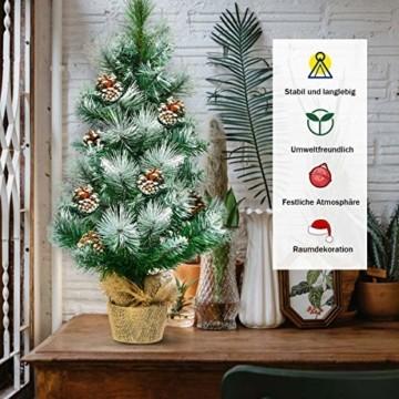 COSTWAY 60cm Künstlicher Mini Weihnachtsbaum, Tisch Tannenbaum mit Zementbasis, schneebedeckter Christbaum mit Kiefernzapfen, Kunstbaum Weihnachten 34 Spitzen PVC Nadeln, grün - 5