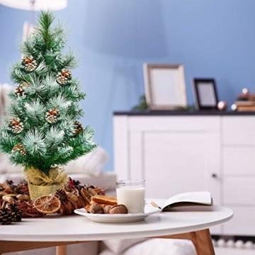 COSTWAY 60cm Künstlicher Mini Weihnachtsbaum, Tisch Tannenbaum mit Zementbasis, schneebedeckter Christbaum mit Kiefernzapfen, Kunstbaum Weihnachten 34 Spitzen PVC Nadeln, grün - 6