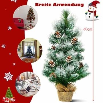 COSTWAY 60cm Künstlicher Mini Weihnachtsbaum, Tisch Tannenbaum mit Zementbasis, schneebedeckter Christbaum mit Kiefernzapfen, Kunstbaum Weihnachten 34 Spitzen PVC Nadeln, grün - 7
