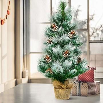 COSTWAY 60cm Künstlicher Mini Weihnachtsbaum, Tisch Tannenbaum mit Zementbasis, schneebedeckter Christbaum mit Kiefernzapfen, Kunstbaum Weihnachten 34 Spitzen PVC Nadeln, grün - 8
