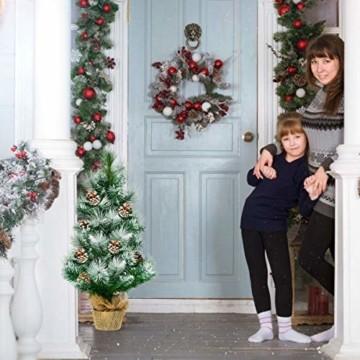 COSTWAY 60cm Künstlicher Mini Weihnachtsbaum, Tisch Tannenbaum mit Zementbasis, schneebedeckter Christbaum mit Kiefernzapfen, Kunstbaum Weihnachten 34 Spitzen PVC Nadeln, grün - 9