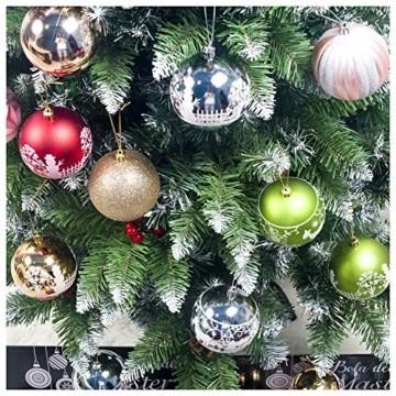 DELLCCIU 12 Christbaumkugeln 8cm, Weihnachtskugeln, Christbaumkugeln Weihnachtsdeko mit Aufhänger Glänzend Glitzernd Baumschmuck Weihnachten Weihnachtsbaumschmuck Dekoration (PINK-Gold) - 3