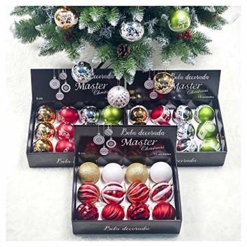 DELLCCIU 12 Christbaumkugeln 8cm, Weihnachtskugeln, Christbaumkugeln Weihnachtsdeko mit Aufhänger Glänzend Glitzernd Baumschmuck Weihnachten Weihnachtsbaumschmuck Dekoration (PINK-Gold) - 4
