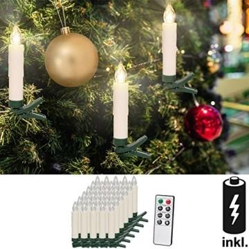 Deuba 30x LED Weihnachtsbaumkerzen kabellos inkl. Batterien weiß Fernbedienung Timer Flackern Dimmbar Weihnachtskerzen - 3