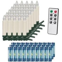 Deuba 30x LED Weihnachtsbaumkerzen kabellos inkl. Batterien weiß Fernbedienung Timer Flackern Dimmbar Weihnachtskerzen - 1