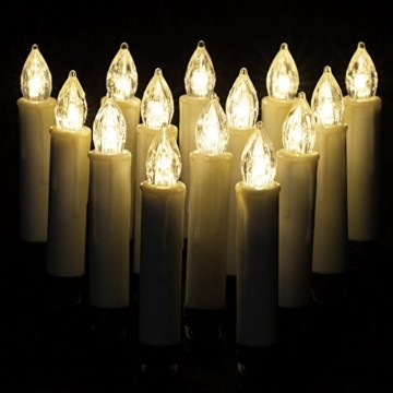 Deuba 30x LED Weihnachtsbaumkerzen kabellos inkl. Batterien weiß Fernbedienung Timer Flackern Dimmbar Weihnachtskerzen - 5