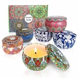 Duftkerzen Soja Set:Rose Lavendel Vanille Orange Zitrone Moschus Natürliche Kerze Brennwachs Reisezinn Duft Entspannender Innenbad Schöne Stimmung Yoga Kerzen - 1