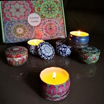 Duftkerzen Soja Set:Rose Lavendel Vanille Orange Zitrone Moschus Natürliche Kerze Brennwachs Reisezinn Duft Entspannender Innenbad Schöne Stimmung Yoga Kerzen - 4
