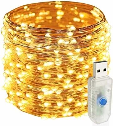 Easternstar Led USB Lichterkette Kupferdraht Strombetrieben 20m 200 LED 8 Modi Wasserdichte außenlichterkette Dekoration innen außen Garten Hochzeit Party Weihnachten Beleuchtung Warmweiß - 1