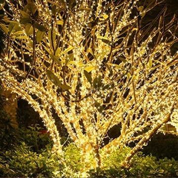 Easternstar Led USB Lichterkette Kupferdraht Strombetrieben 20m 200 LED 8 Modi Wasserdichte außenlichterkette Dekoration innen außen Garten Hochzeit Party Weihnachten Beleuchtung Warmweiß - 6