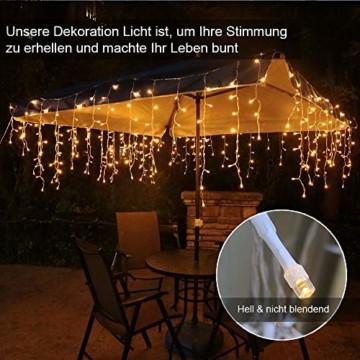 Eisregen Lichterkette Außen 400er LED 10m, LED Lichtervorhang mit Timer, IP44 wasserdicht 8 Modi für Innenausstattung Außenbereich Schlafzimmer Hochzeit Weihnachten Party (Warmweiß) - 2