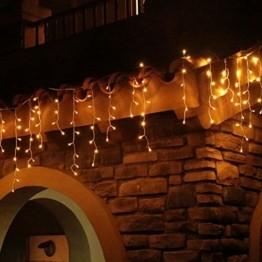 Eisregen Lichterkette Außen 400er LED 10m, LED Lichtervorhang mit Timer, IP44 wasserdicht 8 Modi für Innenausstattung Außenbereich Schlafzimmer Hochzeit Weihnachten Party (Warmweiß) - 1