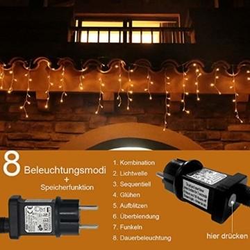 Eisregen Lichterkette Außen 400er LED 10m, LED Lichtervorhang mit Timer, IP44 wasserdicht 8 Modi für Innenausstattung Außenbereich Schlafzimmer Hochzeit Weihnachten Party (Warmweiß) - 4