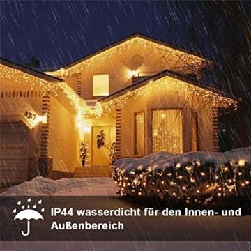 Eisregen Lichterkette Außen 400er LED 10m, LED Lichtervorhang mit Timer, IP44 wasserdicht 8 Modi für Innenausstattung Außenbereich Schlafzimmer Hochzeit Weihnachten Party (Warmweiß) - 5