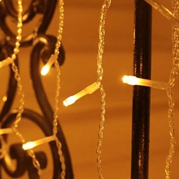 Eisregen Lichterkette Außen 600er LED 15m, LED Lichtervorhang mit Timer, IP44 wasserdicht 8 Modi für Innenausstattung Außenbereich Schlafzimmer Hochzeit Weihnachten Party (Warmweiß) - 3