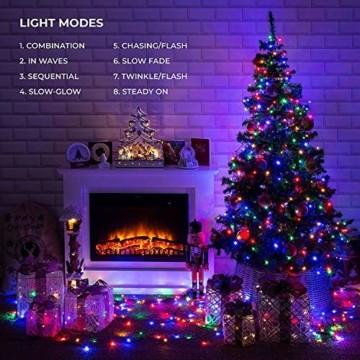 Elegear Bunt Lichterkette Außen 20M 200 LEDs Lichterkette Außen 8 Modi Weihnachtsbeleuchtung für Innen Außen IP44 Außenlichterkette für Weihnachten Deko Geburtstag Feiertag Party Hotel Garten - 2
