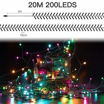 Elegear Bunt Lichterkette Außen 20M 200 LEDs Lichterkette Außen 8 Modi Weihnachtsbeleuchtung für Innen Außen IP44 Außenlichterkette für Weihnachten Deko Geburtstag Feiertag Party Hotel Garten - 3