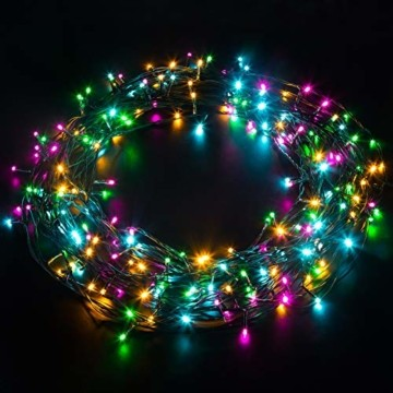 Elegear Bunt Lichterkette Außen 20M 200 LEDs Lichterkette Außen 8 Modi Weihnachtsbeleuchtung für Innen Außen IP44 Außenlichterkette für Weihnachten Deko Geburtstag Feiertag Party Hotel Garten - 1