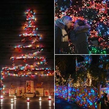 Elegear Bunt Lichterkette Außen 20M 200 LEDs Lichterkette Außen 8 Modi Weihnachtsbeleuchtung für Innen Außen IP44 Außenlichterkette für Weihnachten Deko Geburtstag Feiertag Party Hotel Garten - 5