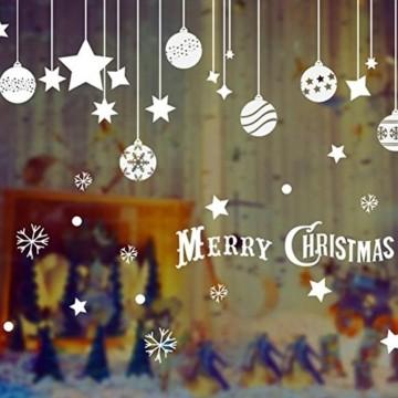 EXTSUD 2 Stück Weihnachtssticker Merry Christmas Schaufensterdekoration Wandaufkleber Fenster Aufkleber Engel Bälle und Sterne Glasaufkleber Weihnachten Xmas Vinyl Fensterbilder Dekoration (Bälle) - 3