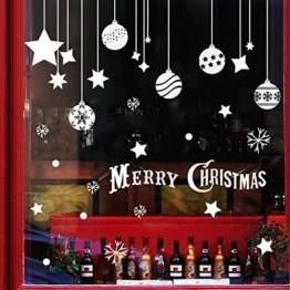 EXTSUD 2 Stück Weihnachtssticker Merry Christmas Schaufensterdekoration Wandaufkleber Fenster Aufkleber Engel Bälle und Sterne Glasaufkleber Weihnachten Xmas Vinyl Fensterbilder Dekoration (Bälle) - 1