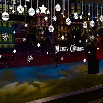 EXTSUD 2 Stück Weihnachtssticker Merry Christmas Schaufensterdekoration Wandaufkleber Fenster Aufkleber Engel Bälle und Sterne Glasaufkleber Weihnachten Xmas Vinyl Fensterbilder Dekoration (Bälle) - 4