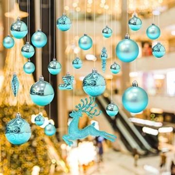 EYNOCA Weihnachtskugeln, 30 Stücke Christbaumkugeln Kunststoff mit Hirsch Thema Blau Türkis, Weihnachtsbaumkugeln für Christbaumschmuck und Weihnachtsschmuck Größen - 2