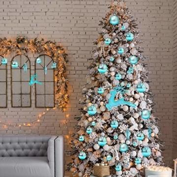 EYNOCA Weihnachtskugeln, 30 Stücke Christbaumkugeln Kunststoff mit Hirsch Thema Blau Türkis, Weihnachtsbaumkugeln für Christbaumschmuck und Weihnachtsschmuck Größen - 3