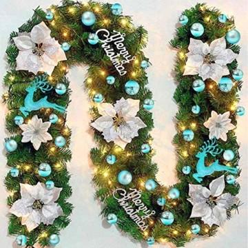 EYNOCA Weihnachtskugeln, 30 Stücke Christbaumkugeln Kunststoff mit Hirsch Thema Blau Türkis, Weihnachtsbaumkugeln für Christbaumschmuck und Weihnachtsschmuck Größen - 4