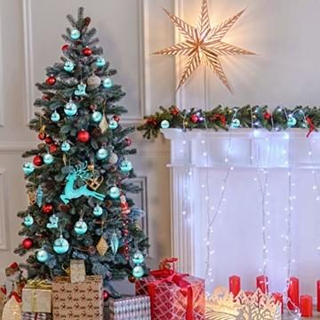 EYNOCA Weihnachtskugeln, 30 Stücke Christbaumkugeln Kunststoff mit Hirsch Thema Blau Türkis, Weihnachtsbaumkugeln für Christbaumschmuck und Weihnachtsschmuck Größen - 5