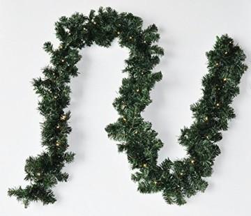 F-H-S International LED Girlande mit Lichterkette Grün 2,7m/5m/8m/10m/15m/20m Tannengirlande Warmweiß, Länge:20.25 m - 2