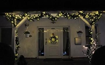 F-H-S International LED Girlande mit Lichterkette Grün 2,7m/5m/8m/10m/15m/20m Tannengirlande Warmweiß, Länge:20.25 m - 6