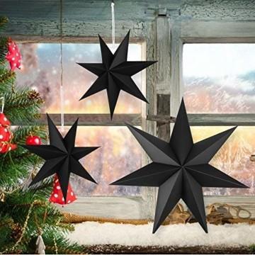 Faltstern Weihnachten, 7 Zacken Faltsterne Schwarz 5 Stück, 2 Stück Durchmesser 40 cm, 3 Stück Durchmesser 25 cm, Sterne Papier zum Fenster Dekoration, Advent, Weihnachtsbaum - 2