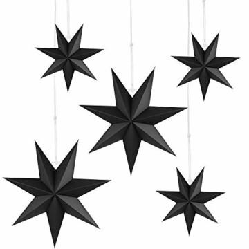 Faltstern Weihnachten, 7 Zacken Faltsterne Schwarz 5 Stück, 2 Stück Durchmesser 40 cm, 3 Stück Durchmesser 25 cm, Sterne Papier zum Fenster Dekoration, Advent, Weihnachtsbaum - 1