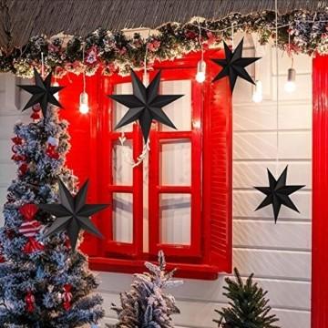 Faltstern Weihnachten, 7 Zacken Faltsterne Schwarz 5 Stück, 2 Stück Durchmesser 40 cm, 3 Stück Durchmesser 25 cm, Sterne Papier zum Fenster Dekoration, Advent, Weihnachtsbaum - 5