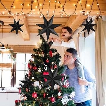 Faltstern Weihnachten, 7 Zacken Faltsterne Schwarz 5 Stück, 2 Stück Durchmesser 40 cm, 3 Stück Durchmesser 25 cm, Sterne Papier zum Fenster Dekoration, Advent, Weihnachtsbaum - 7