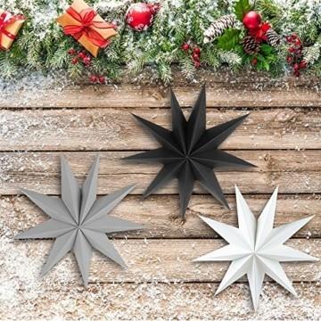 Faltstern Weihnachten, 9 Zacken Stern zum Aufhängen, Papier Stern Dekoration 3er Set Faltsterne Weihnachtsstern Deko, Sterne Papier zum Weihnachtsbaum, Fenster Dekoration - 3