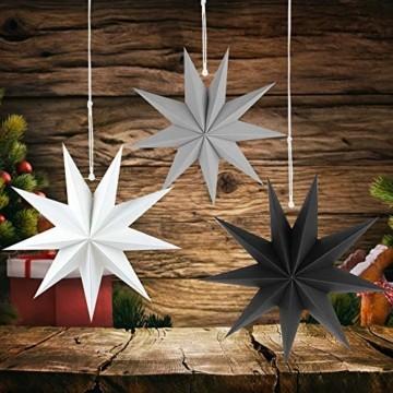 Faltstern Weihnachten, 9 Zacken Stern zum Aufhängen, Papier Stern Dekoration 3er Set Faltsterne Weihnachtsstern Deko, Sterne Papier zum Weihnachtsbaum, Fenster Dekoration - 5