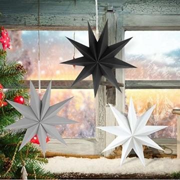 Faltstern Weihnachten, 9 Zacken Stern zum Aufhängen, Papier Stern Dekoration 3er Set Faltsterne Weihnachtsstern Deko, Sterne Papier zum Weihnachtsbaum, Fenster Dekoration - 6
