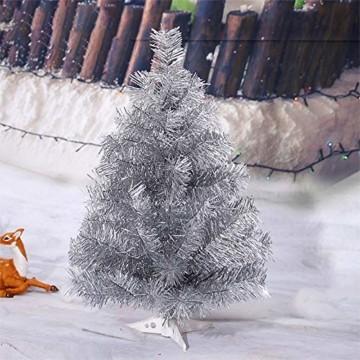 FEIGO Weihnachtsbaum Tannenbaum mit LED, Silber Mini LED Weihnachtsbaum für Weihnachten, Advent, als Stimmungslicht, Christbaum (50 cm) - 3
