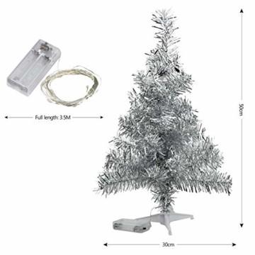FEIGO Weihnachtsbaum Tannenbaum mit LED, Silber Mini LED Weihnachtsbaum für Weihnachten, Advent, als Stimmungslicht, Christbaum (50 cm) - 5