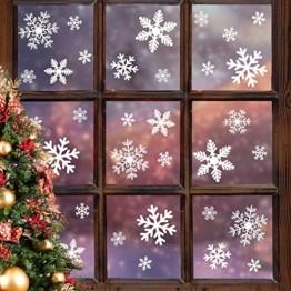 Fensteraufkleber Schneeflocke Weiß,Weihnachten Selbstklebend Fensterdeko,Schaufenster Deko Weihnachten,Schaufenster Deko Weihnachten,Christmas Decorations Window,Weihnachtsdeko Weiß(135pcs) - 1