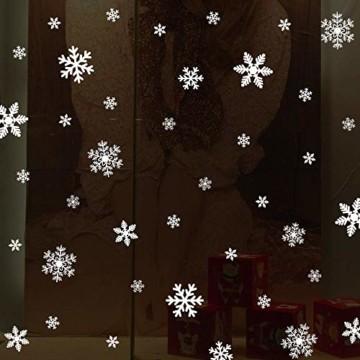 Fensteraufkleber Schneeflocke Weiß,Weihnachten Selbstklebend Fensterdeko,Schaufenster Deko Weihnachten,Schaufenster Deko Weihnachten,Christmas Decorations Window,Weihnachtsdeko Weiß(135pcs) - 4