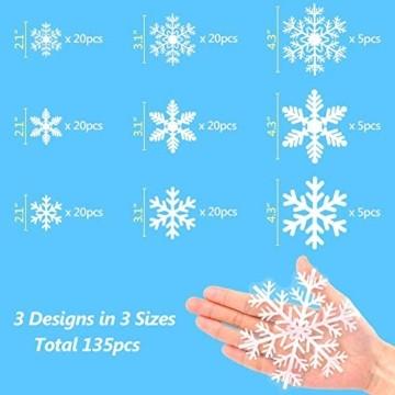 Fensteraufkleber Schneeflocke Weiß,Weihnachten Selbstklebend Fensterdeko,Schaufenster Deko Weihnachten,Schaufenster Deko Weihnachten,Christmas Decorations Window,Weihnachtsdeko Weiß(135pcs) - 5